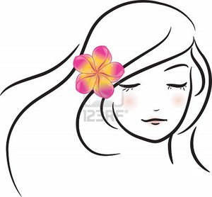 Girl With Pink Frangipani Flower Sketch Vector Illustration | Free ...