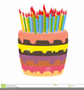 Birthday Cake With Lots Of Candles Clipart Image