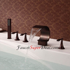 Antique Oil Rubbed Bronze Finish Three Handles Waterfall Bathtub Faucet With Handshower Image