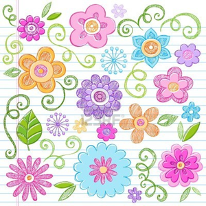Flowers Colorful Sketchy Doodles Hand Drawn Back To School Notebook Vector Illustration Design Eleme Image
