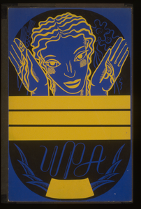 [wpa Poster Design On Blue Background Showing The Head And Hands Of A Woman Holding Flowers And Wheat Above A Blank Banner] Image