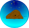 Sleeping Bear Under Stars | Circle Clip Art