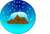 Sleeping Bear Under Stars With Snow | Circle Clip Art