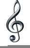 Treble Clef On Staff Clipart Image
