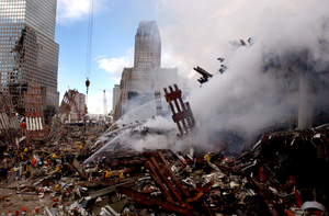 Fires Burning Amidst Wtc Rubble Image