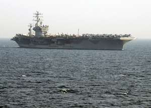 The Aircraft Carrier Uss Nimitz (cvn 68) Enters The Arabian Gulf To Relieve Uss Abraham Lincoln (cvn 72). Image