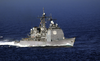 The Ticonderoga-class Guided Missile Cruiser Uss Vella Gulf (cg 72) Joins Uss George Washington (cvn 73) And Carrier Air Wing Seven (cvw-7) As They Transit The Straits Of Gibraltar. Image