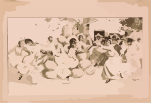 [african Americans Dancing Around A Pile Of Watermelons] Clip Art