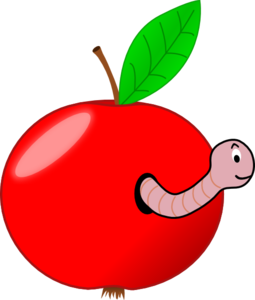 Red Apple With A Worm Clip Art