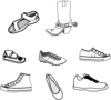 Eight Shoe Outlines Clip Art