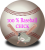 100% Baseball Chick Clip Art