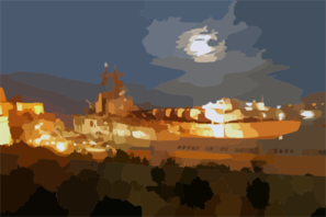 The Amphibious Assault Ship Uss Wasp (lhd 1) Is Well Lit While Moored Pier-side In Valletta, Malta During A Four-day Port Visit. Clip Art
