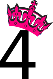 Pink Tilted Tiara And Number 4 Clip Art