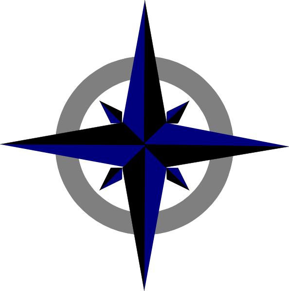 Compass Rose Drawing Bluegrey Compass Rose Clip Art