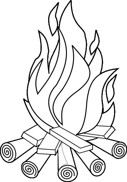 Fire Line Art Clip Art At Clker Com Vector Clip Art Bonfire Colouring Pages
