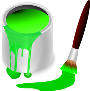 Green Paint Brush And Can Clip Art