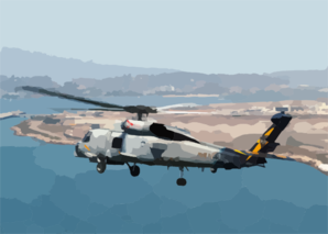A Sh-60 Seahawk Passes By Naval Air Station North Island During A Routine Training Flight. Clip Art