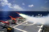 A Target Drone Is Fired Off The Flight Deck Aboard Uss Cushing (dd 985), That Will Be Used To Give The Navy An Opportunity For Real-world Target Practice Image