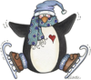 Ice Skating Penguins Clipart Image