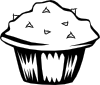 Double Chocolate Muffin (b And W) Clip Art