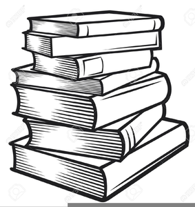 Stack Of Books Clipart Black And White Image