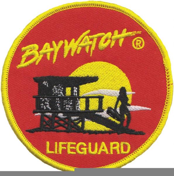 Baywatch (david hasselhoff) swimsuit lifeguard logo iron on.