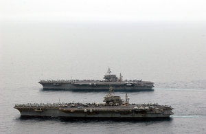 Ss Kitty Hawk (cv 63) And Uss Constellation (cv 64), The Navy S Two Remaining Kitty Hawk Class Aircraft Carriers, Underway Together In The Arabian Gulf Image