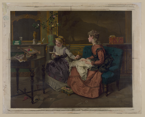 [two Girls, One Reading, One Sewing] Image
