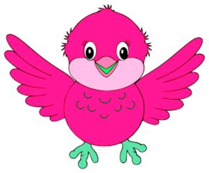 Birds pink. Cute little blue bird