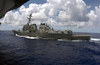 The Guided Missile Destroyer Uss Lassen (ddg 82) Underway Alongside The Aircraft Carrier Uss Carl Vinson (cvn 70) After A Scheduled Refueling At Sea (ras) Image