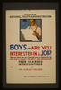 Boys - Are You Interested In A Job? Find Out What An Occupation Has To Offer You In Pay, Employment, Security, And Promotion : Free Classes In Occupations. Image