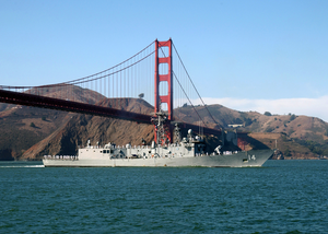 Uss Sides Passes Under Golden Gate Bridge. Image