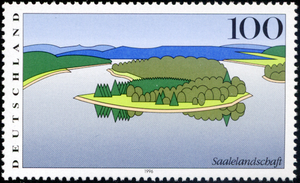 Stamp Saalelandschaft (germany) Image