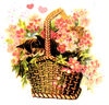 Public Domain Vintage Clipart Kitten In Basket Of Flowers Image