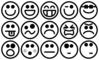 Grayscale Smiley Set Clip Art