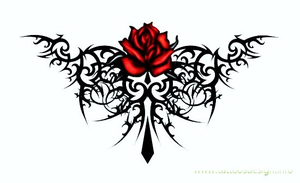 Tribal Tattoo With Roses X Image