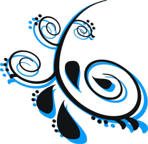 Scroll Black Peacock 3 Clip Art