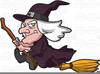 Witch Riding Broom Clipart Image