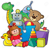 Kids Sharing Toys Clipart Image