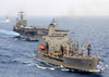 Uss Harry S. Truman (cvn 75) Comes Alongside The Military Sealift Command Oiler Usns John Lenthall (t-ao 189) For An Underway Replenishment (unrep). Image