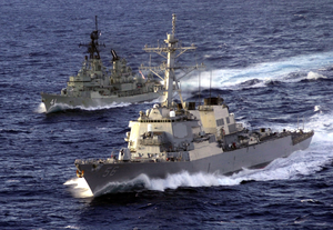 U.s. And Australian Ships At Sea Image