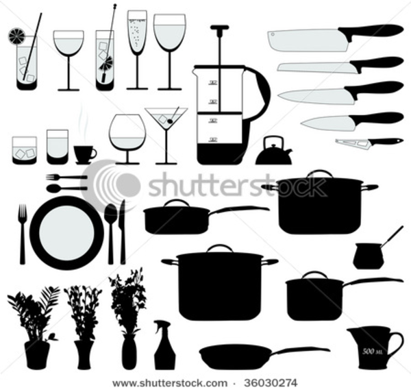 Stock Vector Dishes Pan Mixer And Other Kitchen Objects ...