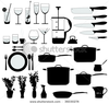Stock Vector Dishes Pan Mixer And Other Kitchen Objects Silhouette Vector Image