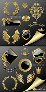 Vector Armorial Gold Heraldry Clipart Premium Gold Collection Image