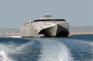 United States Army Vessel (usav) Theatre Support Vessel (tsv-1x) Spearhead Departs From A Port Within The Central Command Aor. Clip Art