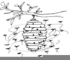 Bees Clipart Black And White Image