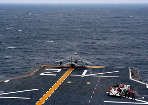 An Av-8b Harrier Assigned To The  Bulldogs  Of Marine Attack Squadron Two Two Three (vma-223) Launches Off The Bow Of The Amphibious Assault Ship Uss Saipan (lha-2). Image