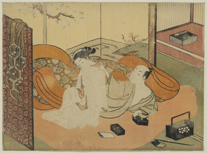 Lady And Her Guest In Bed. Image