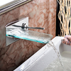 Single Handle Chrome Waterfall Wall Mount Glass Bathtub Faucet Image