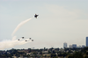 F/a-18 Hornets Assigned To The U.s. Navy Blue Angels Flight Demonstration Team Take Off From The Boeing Museum Of Flight In Seattle, Wash., During Seattle Seafair Fleet Week Image